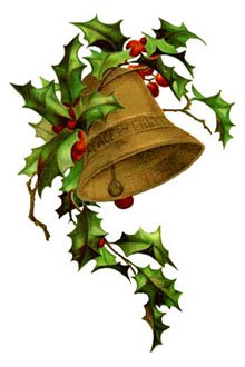 220x330 Free Clipart Vintage Christmas Bells, Holly, Mistletoe