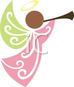 295x350 Christmas Angel Blowing A Horn Clip Art Picture