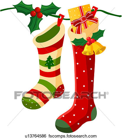 412x470 Clip Art of Christmas Stockings u13764586