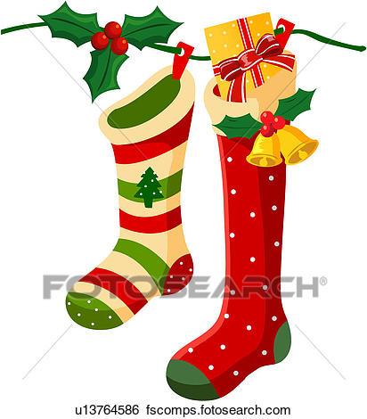 412x470 Clip Art Of Christmas Stockings U13764586