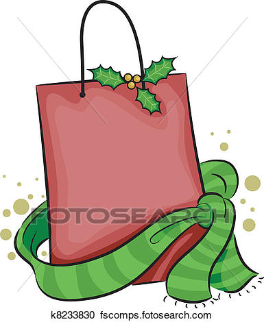 385x470 Clipart of Christmas Shopping Bag k8233830