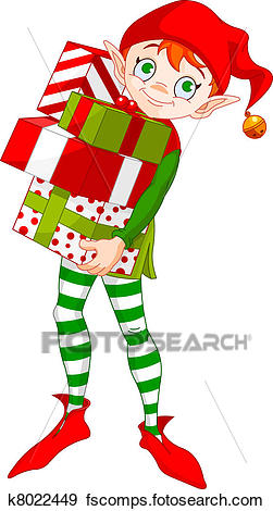 251x470 Clip Art Of Christmas Elf With Gifts K8022449