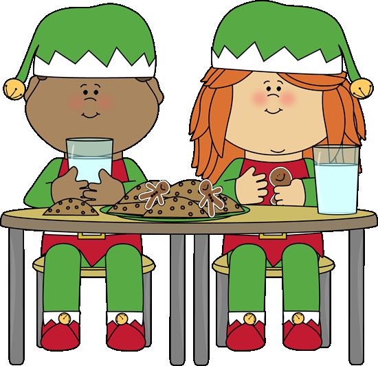550x533 Elves Eating Christmas Cookies Clip Art
