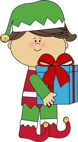276x500 Girl Christmas Elf With Gift Clip Art