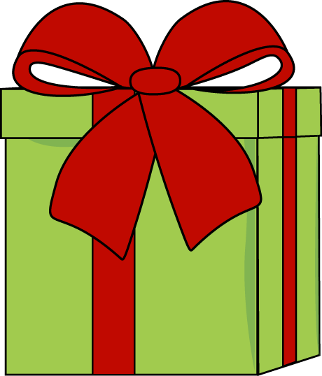 460x538 Christmas Green Present With Red Bow, Clip Art Christmas Digis