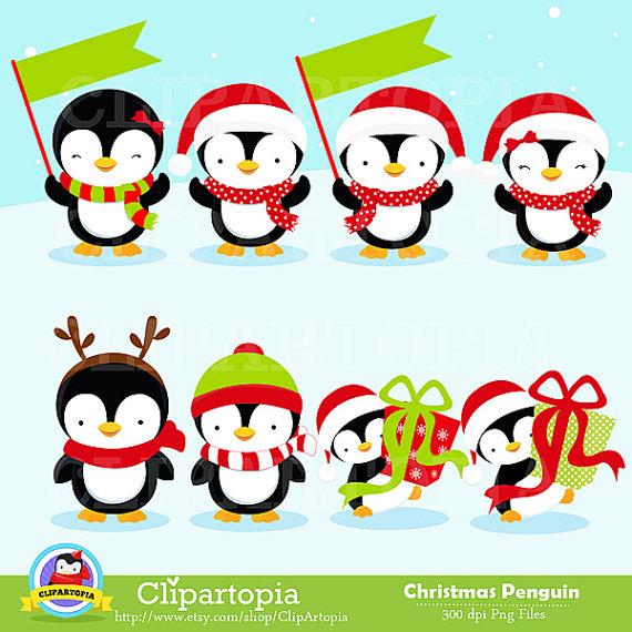 570x570 Christmas Penguin Clipart Penguin Digital Clipart Penguin