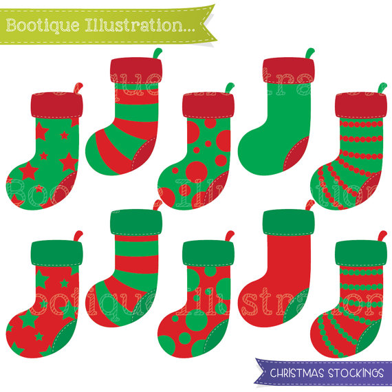 570x570 Christmas Stocking Clipart Set For Instant Download. 10 Christmas