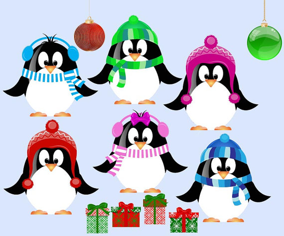 570x475 Etsy Cute Christmas Penguin Clip Art For Scrapbooking By Manuna