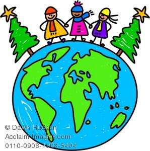298x300 Clipart Illustration Of Three Kids Standing On A Globe