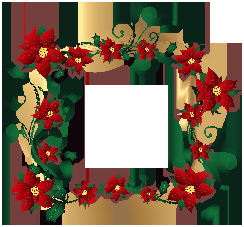 6000x5601 Christmas Decorative Border Transparent PNG Clip Art Image