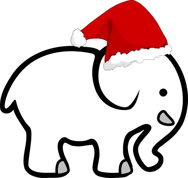 600x567 White Elephant With Santa Hat Clip Art