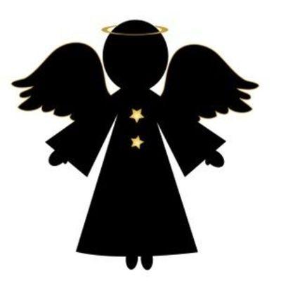 400x400 Simple Christmas Angel Silhouette Clip Art