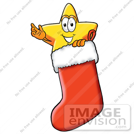 450x450 Clip Art Graphic Of A Yellow Star Cartoon Character Inside A Red
