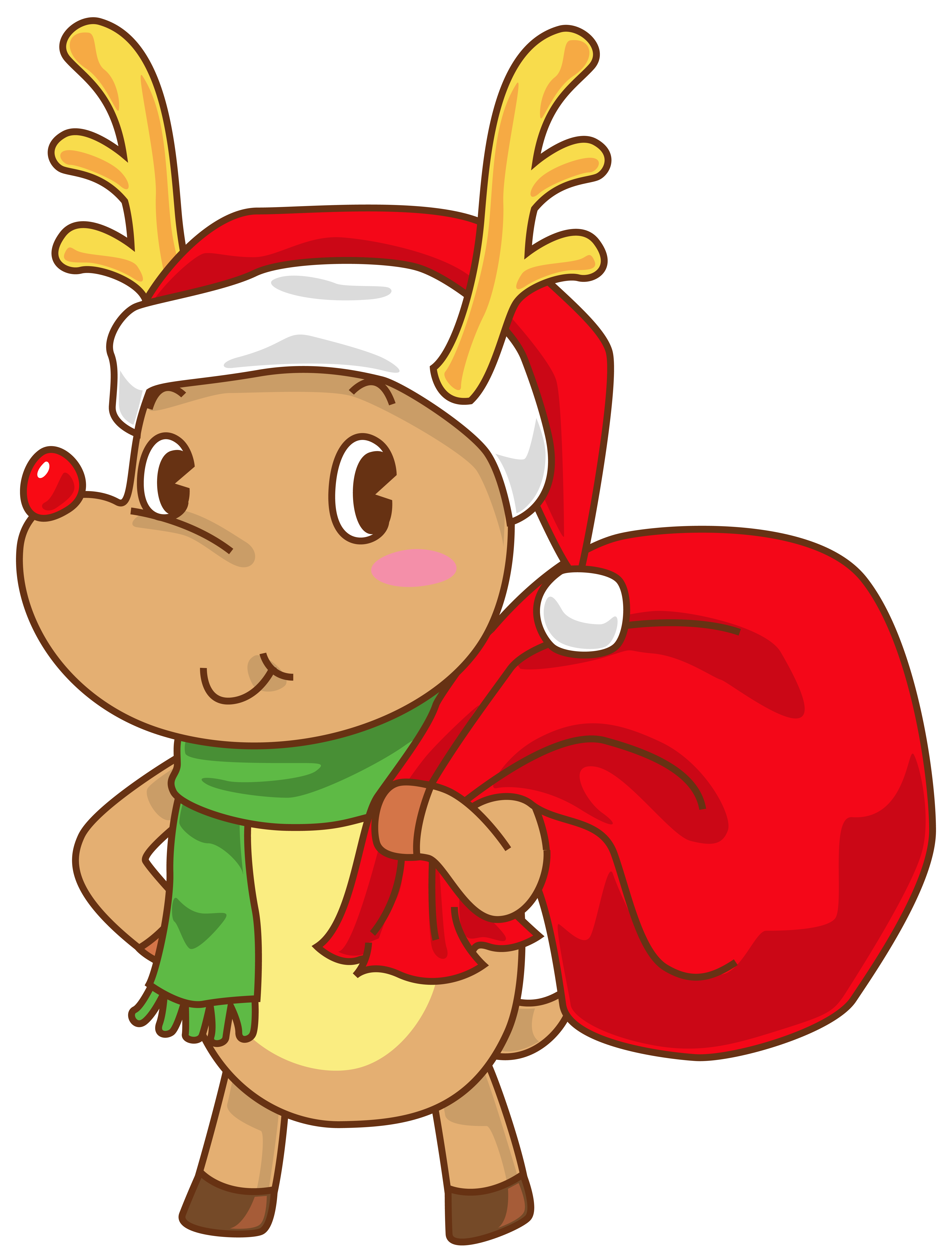 5474x7183 Christmas Rudolph With Santa Hat Transparent Clip Art Image