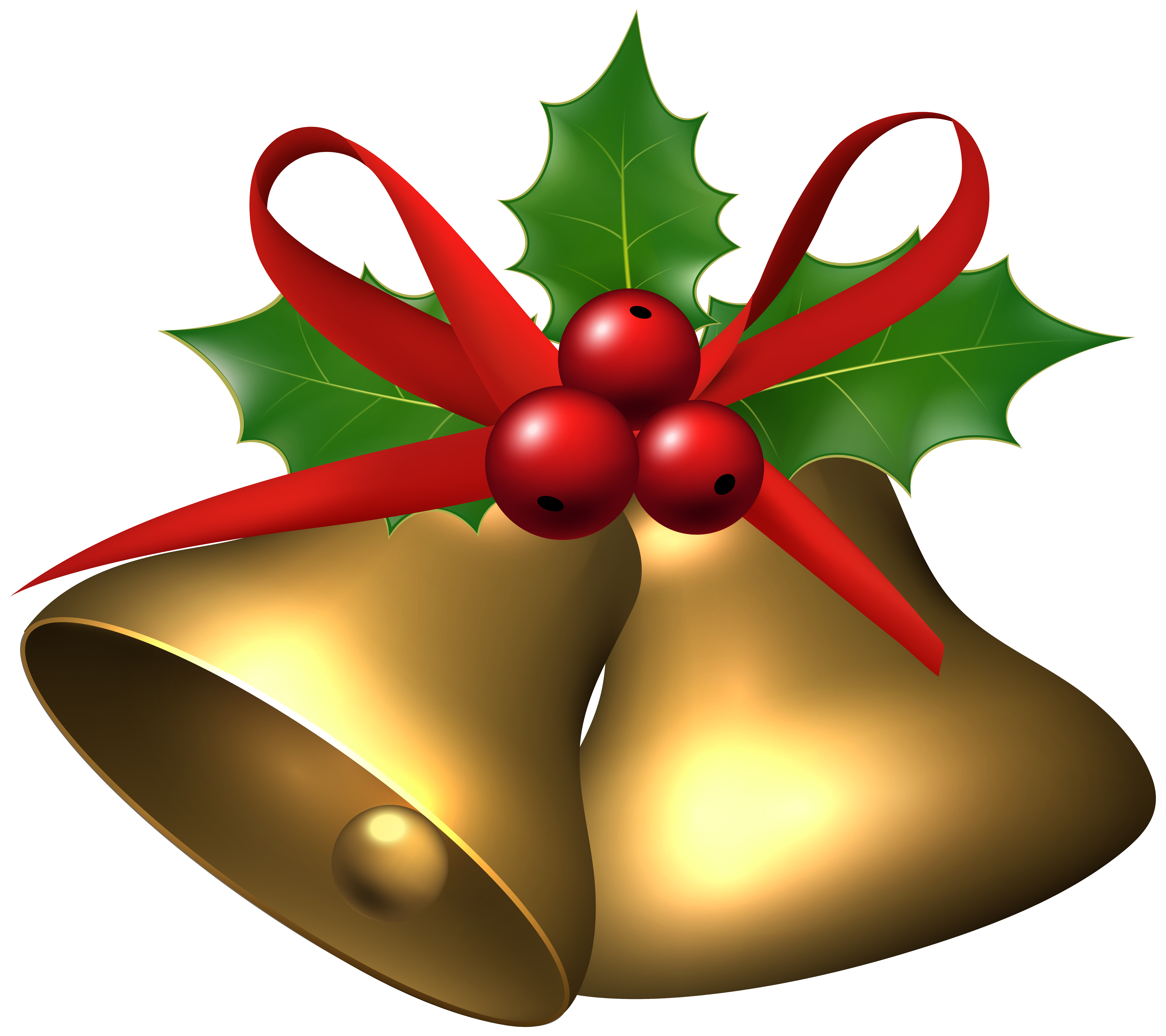 7620x6769 Large Christmas Bells With Holly Png Clip Art Imageu200b Gallery