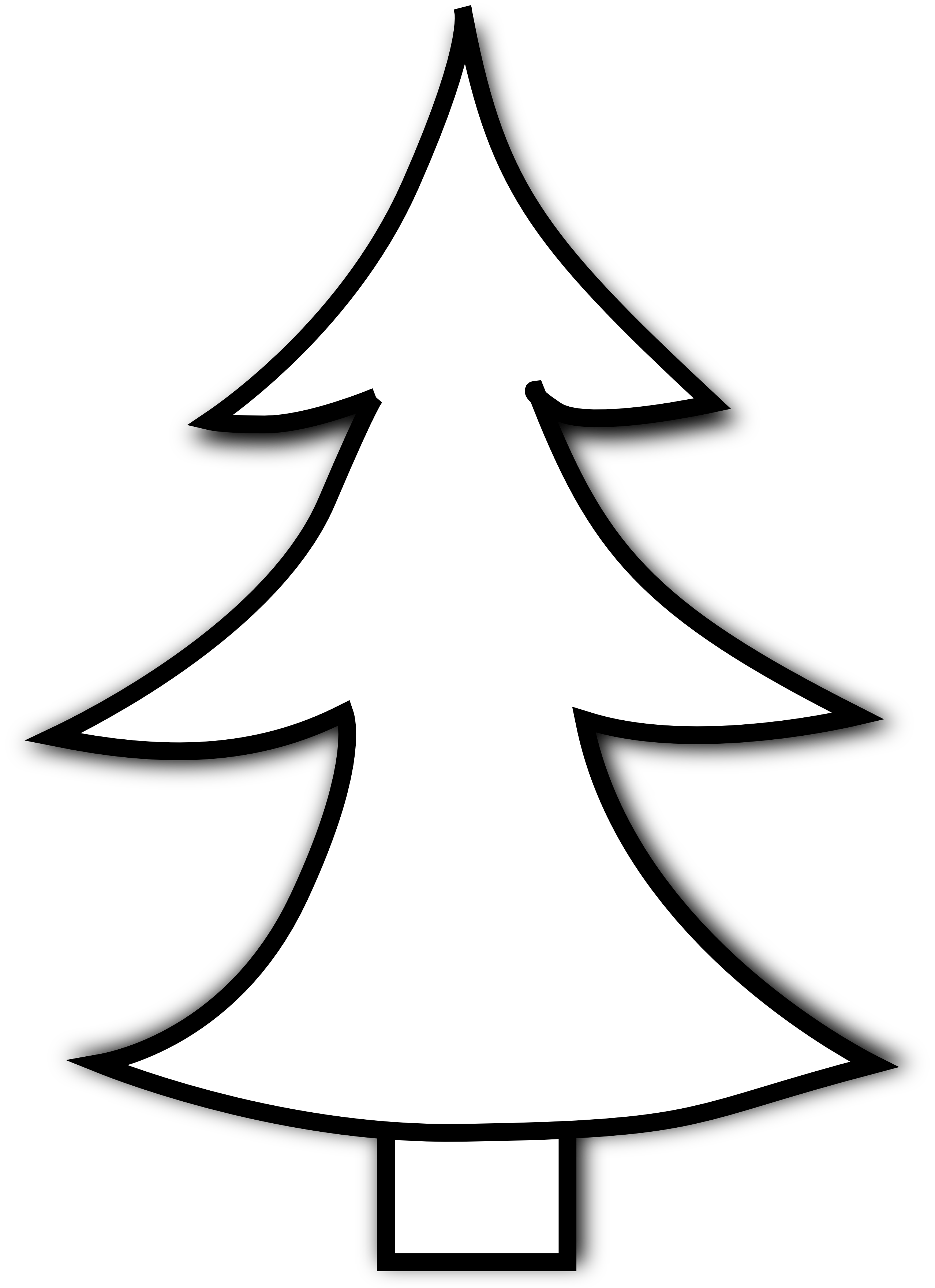 2555x3519 Transparent Background Black And White Christmas Tree Clip Art