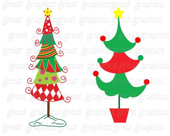 570x456 Christmas Tree Clipart Whimsical Christmas Digital Clip Art