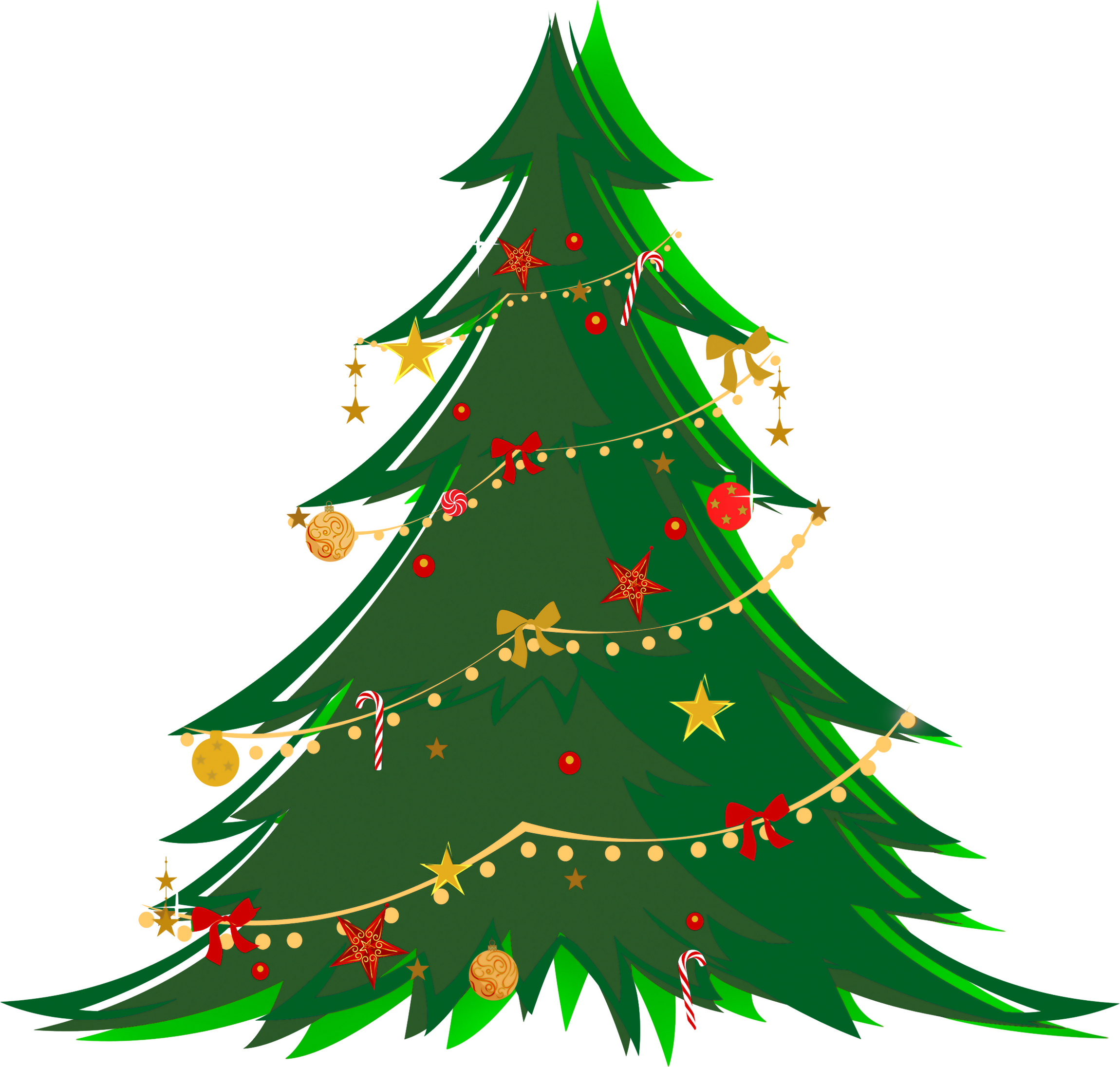 2300x2191 Large Transparent Green Christmas Tree With Ornaments Png Clipart