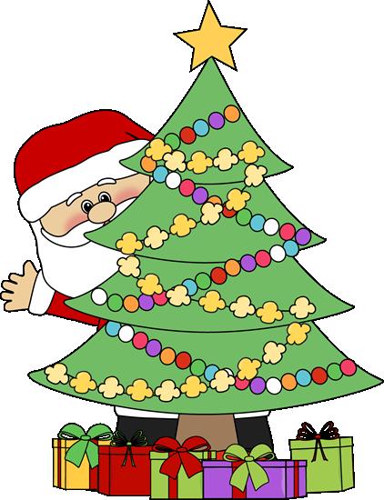 422x550 Santa Behind A Christmas Tree Clip Art