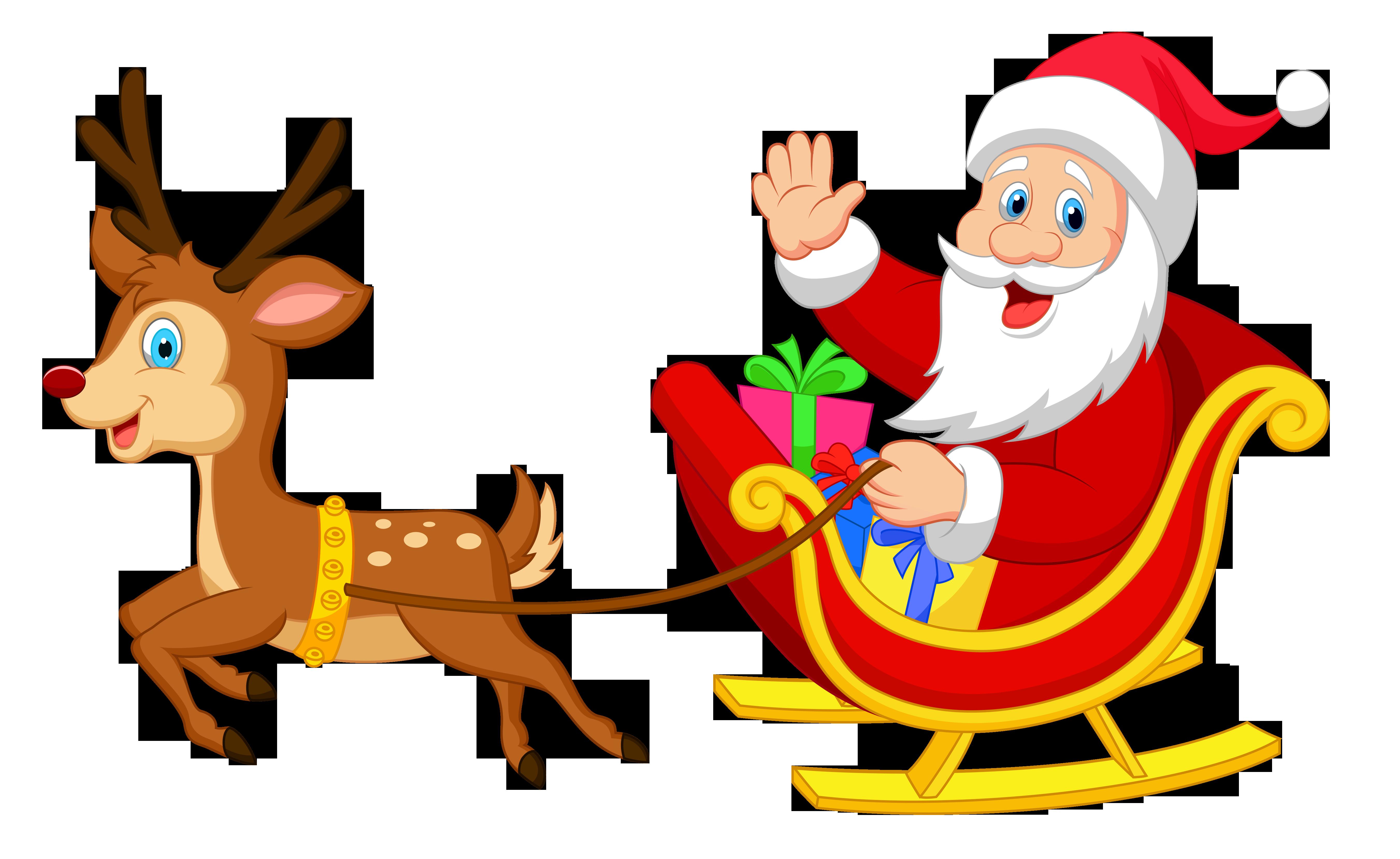 5406x3316 Transparent Santa With Rudolph Clipart