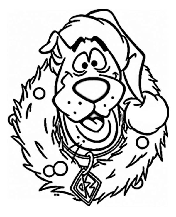 682x800 preschool christmas coloring pages printable murderthestout 600x738 scooby doo wearing christmas wreath on christmas coloring page