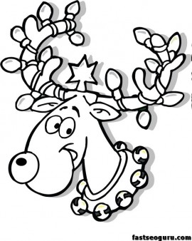 270x338 Christmas Reindeer In Lights Coloring Page