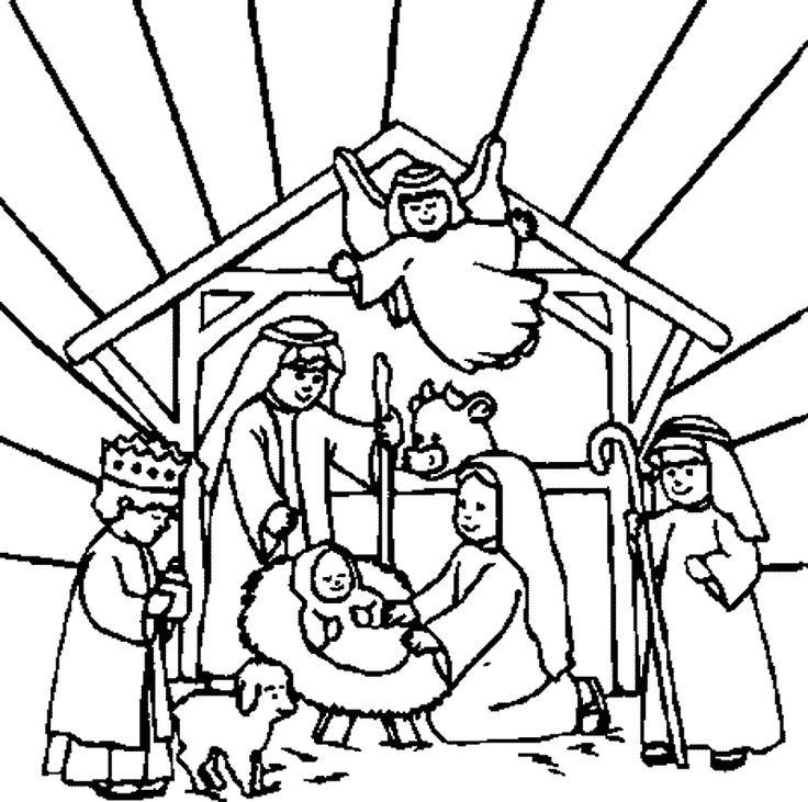 Nativity Scene Line Drawing At GetDrawings Com Free For Personal Christmas Coloring Pages Printable