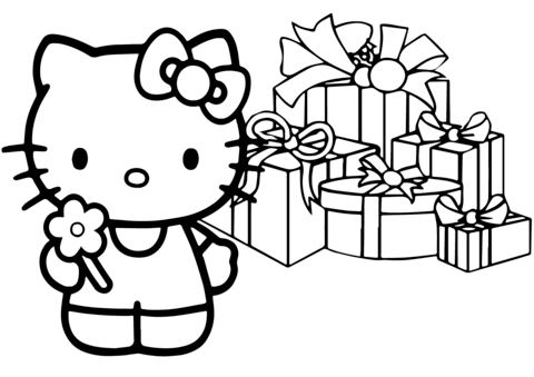 480x339 Hello Kitty Happy Christmas Coloring Page Free Printable