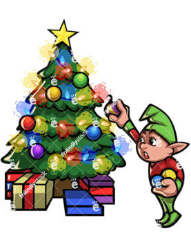 277x357 Female Christmas Elf Dancing, Singing Cartoon Vector Clipart