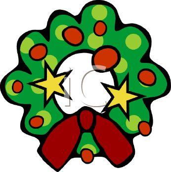 346x350 Picture Of A Cartoon Christmas Wreath With Decorations In A Vector