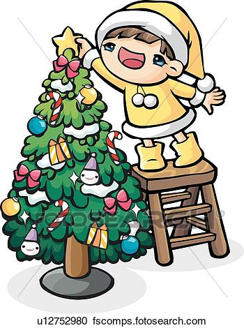 350x470 Stock Illustrations Of Young Girl Decorating A Christmas Tree