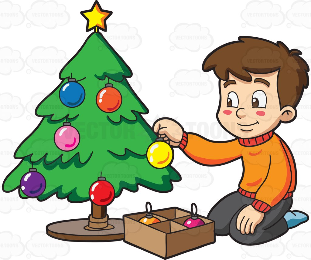 1024x857 A Boy Decorating A Christmas Tree Cartoon Clipart