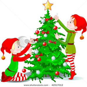 297x300 Art Image Two Cute Elves Decorating A Christmas Tree