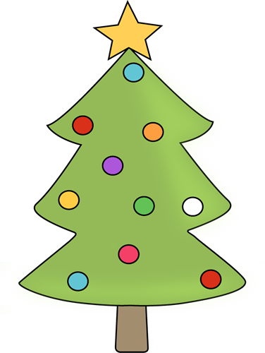376x500 Christmas Tree With Colorful Ornaments Clip Art