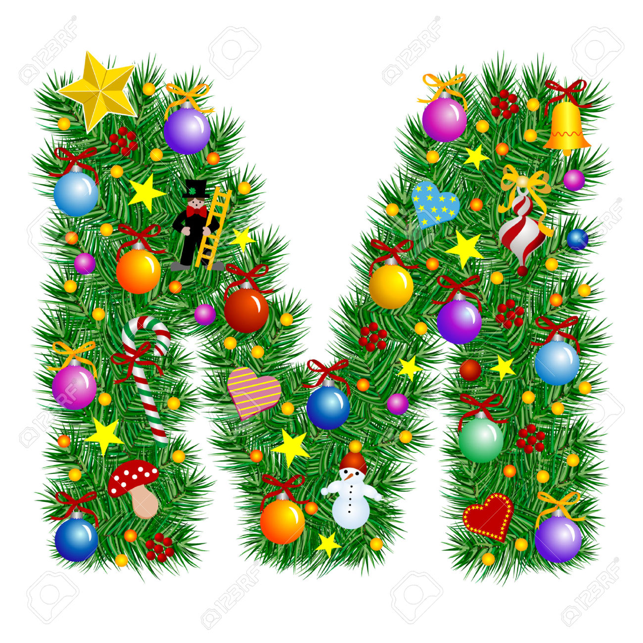 1300x1300 Letter Christmas Tree Decorations