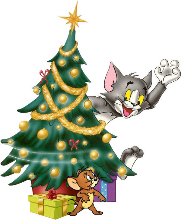 600x730 CHRISTMAS TREE WITH TOM AND JERRY CLIP ART