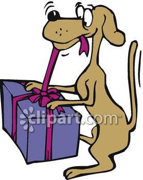278x350 A Dog Opening A Christmas Present