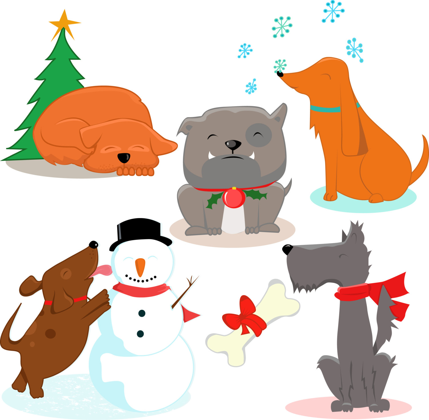 1500x1469 Premium Dogs Clipart, Cute Dog , Xmas Clipart, Christmas Dog