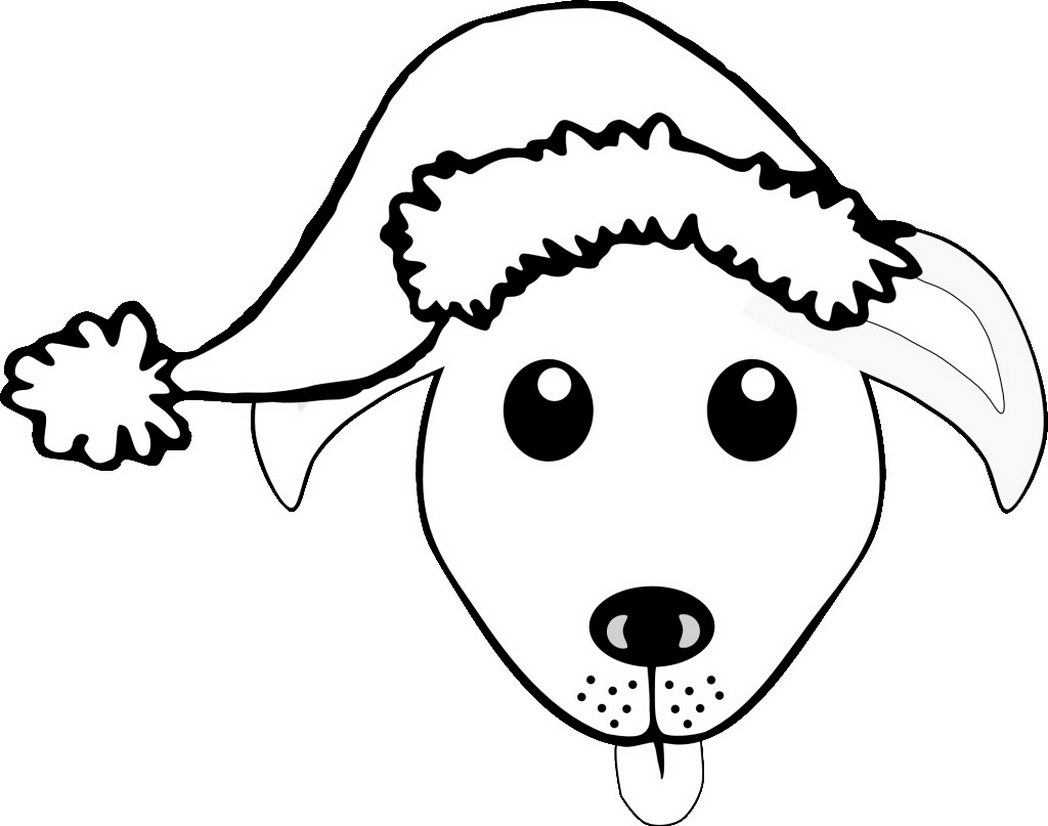 1048x826 Black And White Christmas Dog Clipart, Free Black And White