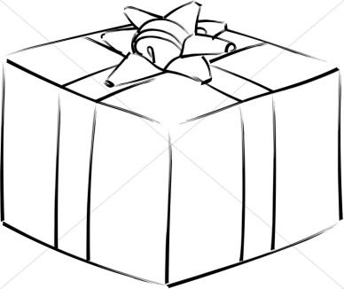 Christmas Gift Clipart Black And White