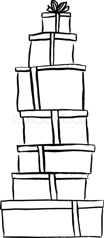 349x800 Stack Of Christmas Gifts. Ink Outline Hand Drawn Sketch Isolated