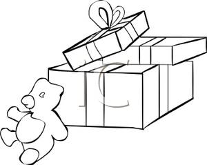 300x239 And White Wrapped Christmas Gifts And A Black And White Teddy Bear