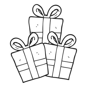 300x300 Freehand Drawn Black And White Cartoon Christmas Gifts Royalty