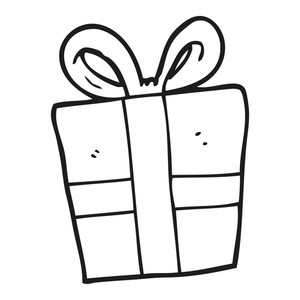 300x300 Freehand Drawn Black And White Cartoon Gift Box Royalty Free Stock