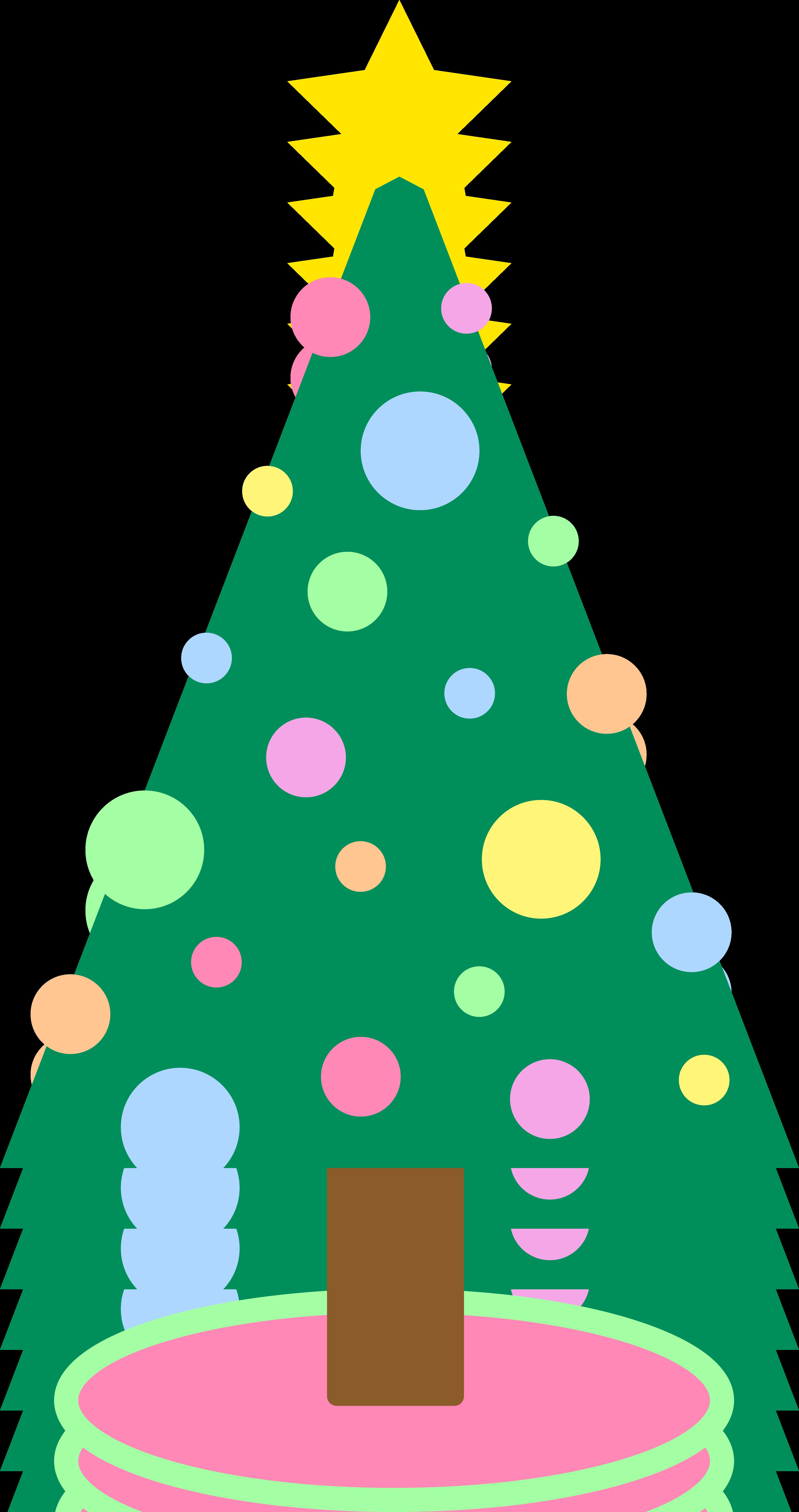 4150x7856 Cute Simple Pastellored Christmas Tree Free Clip Art
