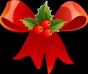 299x249 Christmas Bow With Holly Clip Art