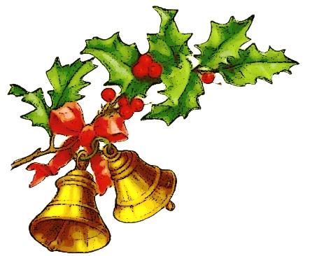 443x366 Christmas Holly Bells Clip Art