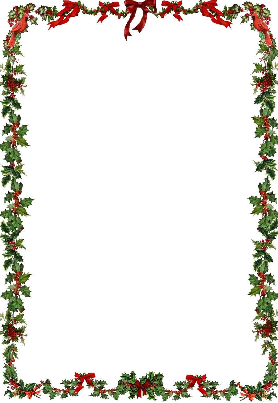 900x1305 Clipart Holly Border