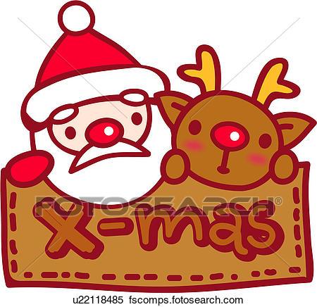 450x436 Clipart Of Red Nosed Reindeer, Santa Clause, Reindeer, Christmas