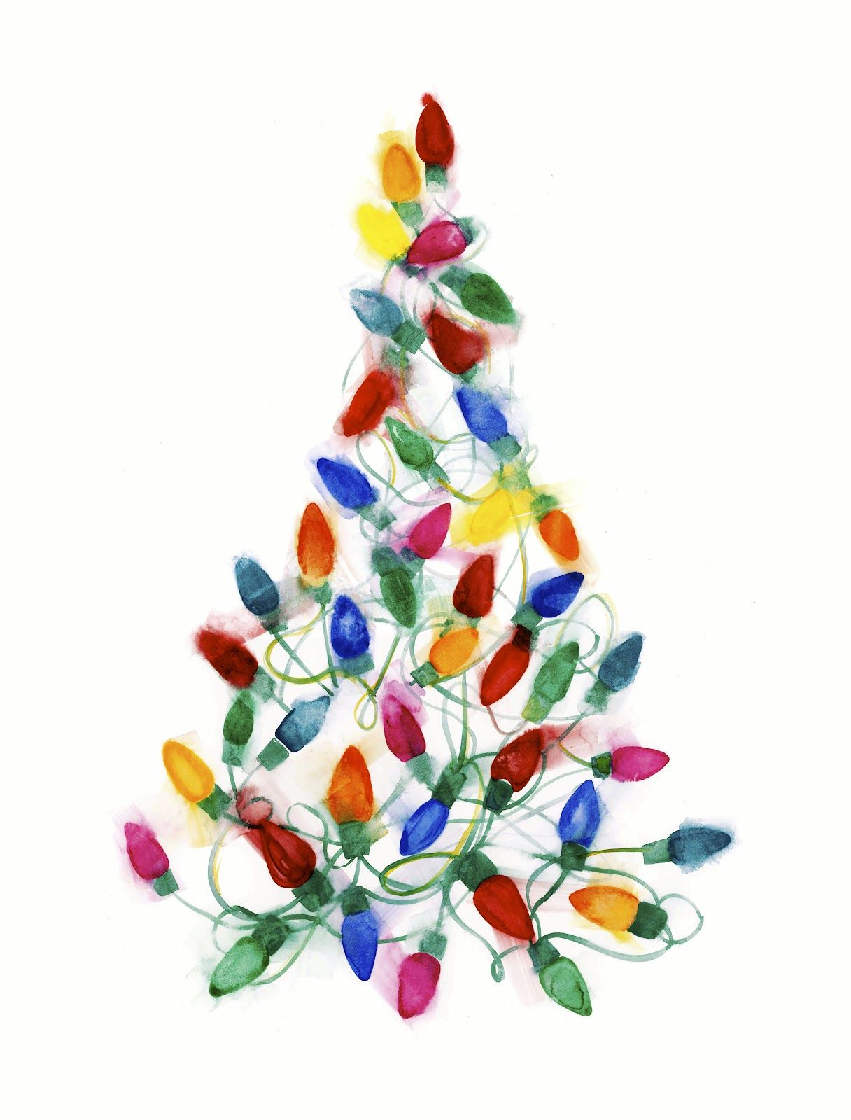 1216x1600 Christmas Light Tree Watercolor On Paper By Shana Frase Art